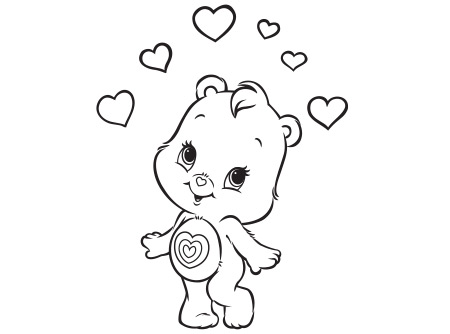 Bedtime Bear Sleeping On The Clouds In Care Bear Coloring Page ... | 334x450